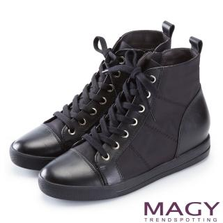 【MAGY】個性街頭 牛皮拼接防水布面綁帶內增高短靴(黑色)