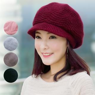 【幸福揚邑】雙層保暖護耳小顏針織鴨舌貝蕾帽小臉兔毛線帽(5色可選)