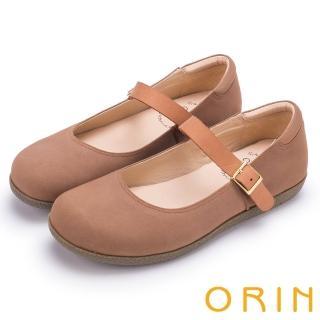 【ORIN】渡假休閒必備 牛皮素面腳背帶休閒平底鞋(棕色)