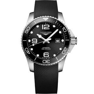 【LONGINES 浪琴】深海征服者浪鬼陶瓷潛水機械錶-黑x43mm(L37824569)