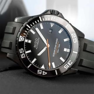 【MIDO 美度】Ocean Star 海洋之星 水鬼 深潛600米陶瓷潛水錶-鍍黑(M0266083705100)