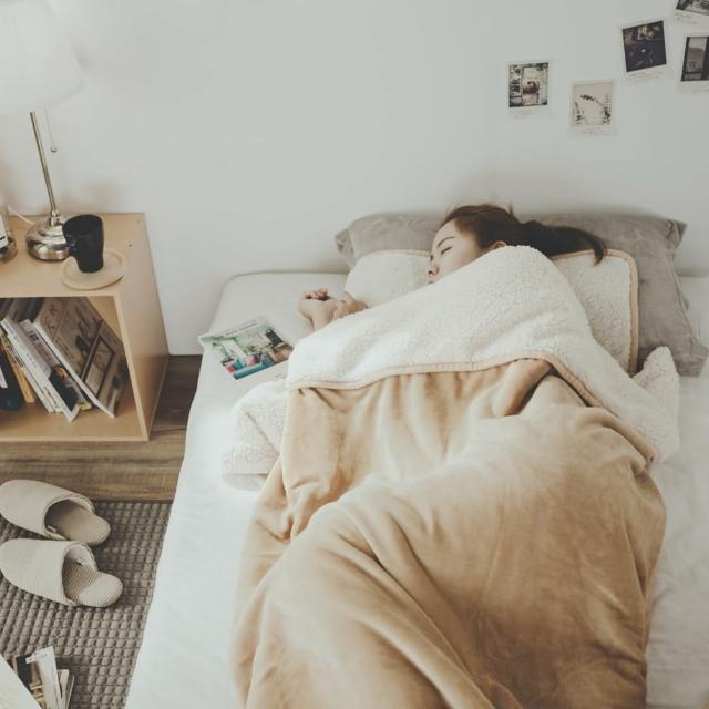 【絲薇諾】加厚版法蘭羊羔絨睡袋毯(沙漠金/1.64kg)/