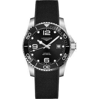 【LONGINES 浪琴】深海征服者浪鬼陶瓷潛水機械錶-41mm(L37814569)