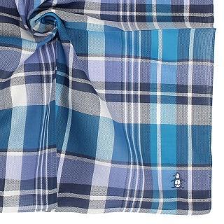 【Munsingwear】刺繡企鵝LOGO格紋純綿帕巾(蔚藍色)