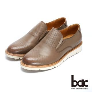 【bac】都會新秀 - 擦色感中性風格沖孔深口平底鞋(咖啡色)