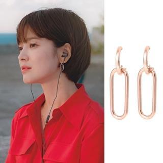 【梨花HaNA】宋慧喬男朋友同款幾何別針造型925銀針耳環