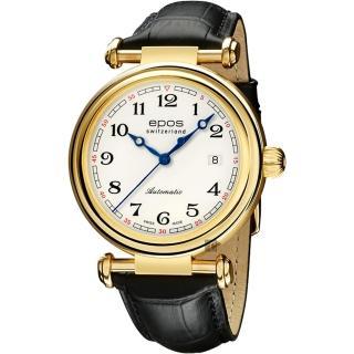 【epos 愛寶時】Originale 原創系列復刻版機械腕錶-金框x黑/42mm(3430.130.22.30.25FB)