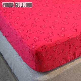 【Yvonne Collection】狗狗印花雙人床包(莓紅)