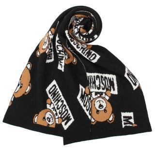 【MOSCHINO】滿版經典小熊針織保暖圍巾(黑色)