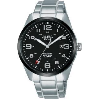 【ALBA】雅柏 城市情人太陽能時尚手錶-黑x銀/39mm(AS32-X018D  AX3005X1)