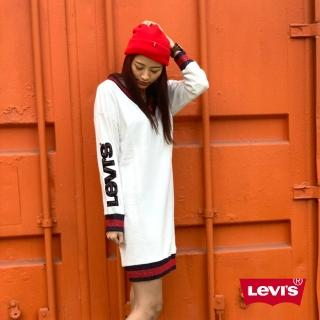 【LEVIS】女款 長袖洋裝 / 亮片LOGO / 紅藍金蔥條紋(亞洲限定)