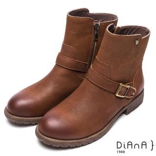 【DIANA】簡約率性-經典方釦編織紋拼接鉚釘真皮工程靴(棕)