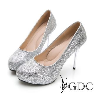 【GDC】閃爍迷人滿版亮粉炫魅高跟鞋-銀色(827162)