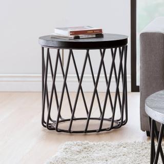 【BODEN】傑思1.6尺圓形黑色小茶几/邊桌