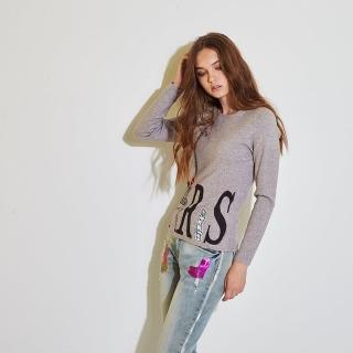 【ICHE 衣哲】時尚字母印花釘飾針織造型上衣-兩色-灰