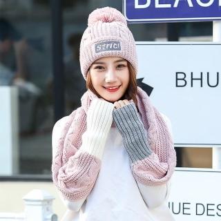 【Acorn*橡果】韓系撞色加絨毛帽+露指手套圍巾1815(兩件組-粉色)