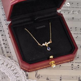 【Turquoise Jewelry】清新氣質仲夏夜之夢精緻鋯石S925銀鍍金細緻鎖骨項鍊(tqsm0012)