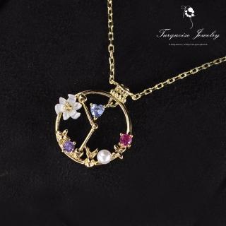 【Turquoise Jewelry】輕珠寶系列愛麗絲夢遊仙境之神秘的大鐘花朵天然淡水珍珠墜飾細緻鎖骨項鍊(tqsh0010)
