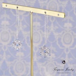 【Turquoise Jewelry】輕珠寶系列雪花片片天然托帕石S925銀耳線耳環(tqsh0013)