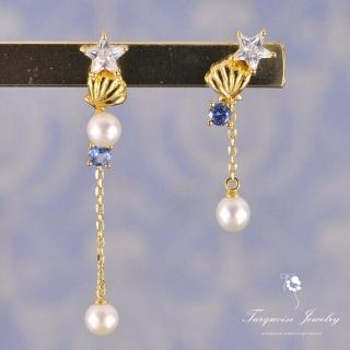 【Turquoise Jewelry】清新可愛小美人魚的貝殼天然珍珠鋯石925銀鍍金細緻耳環(tqsm0009)