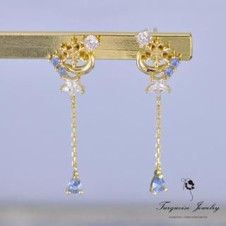 【Turquoise Jewelry】簡約氣質藍色鋯石聖誕雪花星月925銀鍍金耳環(tqsm0004)