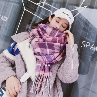 【梨花HaNA】淘氣學院風夢幻紫粉格紋加厚仿羊絨披肩圍巾