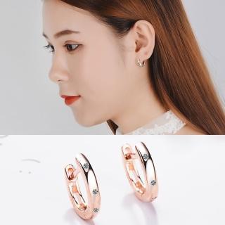 【梨花HaNA】韓國925銀針清新設計點點鑽環繞耳扣耳環