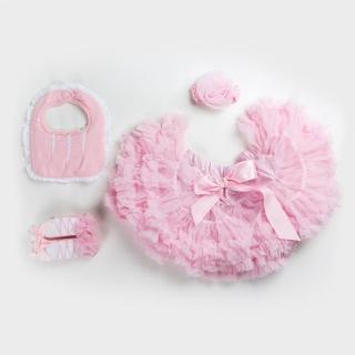 【日安朵朵】女嬰童蓬蓬裙禮盒 - 粉嫩小公主睡美人 裙+圍兜+寶寶襪(寶寶彌月滿月禮週歲生日禮物)