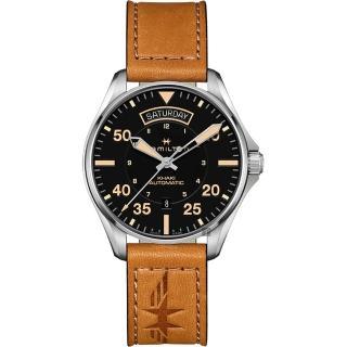 【HAMILTON 漢米爾頓】Khaki Pilot 卡其飛行員機械錶-黑x卡其色/42mm(H64645531)