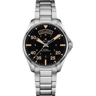 【HAMILTON 漢米爾頓】KHAKI PILOT 飛行員系列機械錶-黑x卡其色時標/42mm(H64645131)