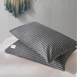 日式水洗棉素色枕頭套1對-灰白條