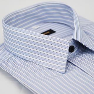 【金安德森】藍色白條紋黑扣吸排窄版長袖襯衫-fast