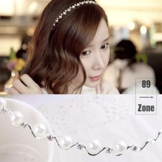 【89 zone】法式古典甜心珍珠髮箍(銀)