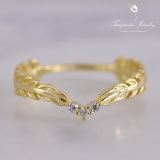 【Turquoise Jewelry】輕珠寶系列Vintage風橄欖葉鋯石S925銀鍍金戒指(tqst0001)