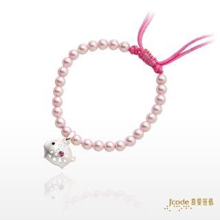 【J'code 真愛密碼】富貴小豬純銀粉紅珍珠手鍊(彌月銀飾)