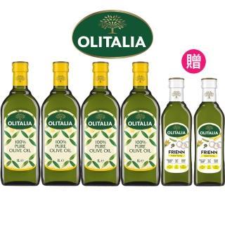 【Olitalia 奧利塔】純橄欖油1000mlx4-禮盒組(贈高溫專用葵花油500mlx2瓶)