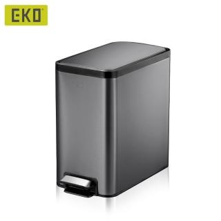 【EKO】樂韻靜音垃圾桶-8L(曜石黑/居家/客廳/浴室)