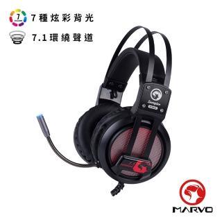 【MARVO 魔蠍】HG9028 幻彩7.1聲道電競耳罩式耳機 紅(耳機、電競)