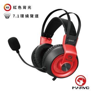 【MARVO 魔蠍】HG9035 虛擬7.1聲道電競耳罩式耳機 紅(耳機、電競、7.1聲道)