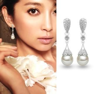【梨花HaNA】韓國925銀針奢華氣質水滴鋯石珍珠耳環