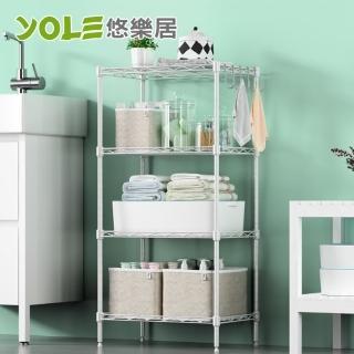 【YOLE 悠樂居】耐重金屬多層置物架網格收納架-四層#1327060(黑色/白色)