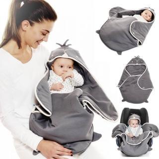【荷蘭 wallaboo】海天使輕巧嬰兒抱袋/包巾-可愛動物款(可搭配任何廠牌汽座;嬰兒車與提籃)