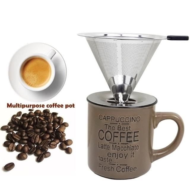 【咖啡沖泡組4】大號316不銹鋼濾杯+400cc復古咖啡馬克杯/泡咖啡 泡茶濾杯 手沖咖啡濾器(2入隨機出貨)