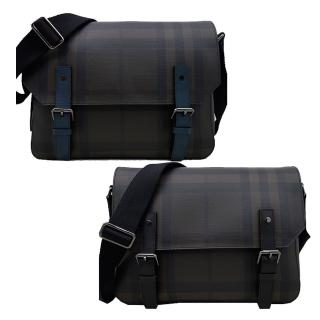【BURBERRY 巴寶莉】經典格紋橫式吸釦翻蓋斜側背包(2色)
