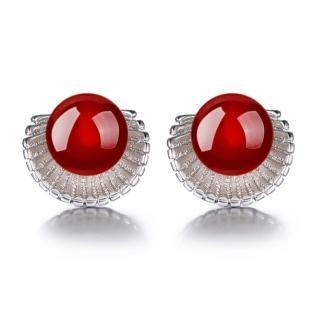 【梨花HaNA】韓國925銀針獨特珍貴紅瑪瑙貝殼耳環