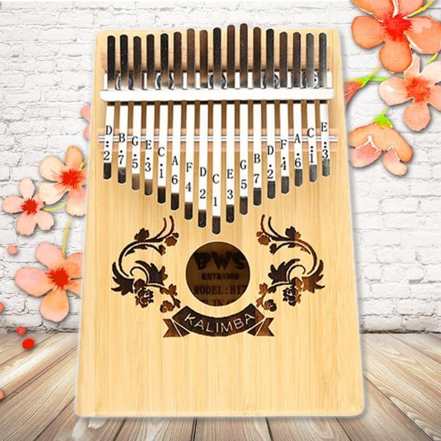 【美佳音樂】奧福樂器 Kalimba 卡林巴琴/拇指琴-超值全配.17音金絲楠竹單板-雙花雕刻(贈旅行包)