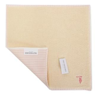 【TRUSSARDI】獵狗刺繡LOGO雙面條紋純綿方巾(粉膚色)