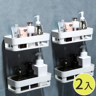 【STICK】廚房浴室無痕收納置物架二入組 免鑽牆鑽孔 透明防水背膠
