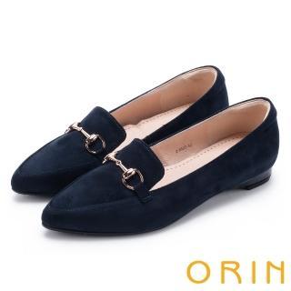 【ORIN】經典復古 氣質馬蹄扣百搭樂福平底鞋(深藍)