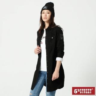 【5th STREET】女牛仔長版襯衫-黑色